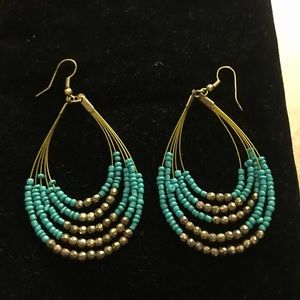 Earrings Gold Tone with Turquoise Beads